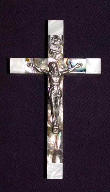 crucifix mother of pearl abalone large latin