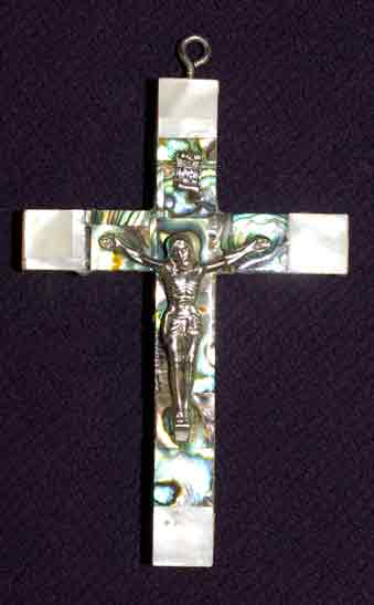 crucifix mother of pearl abalone medium latin