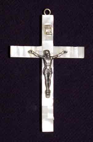 crucifix mother of pearl large latin