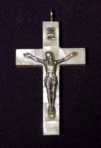 crucifix mother of pearl tiny latin