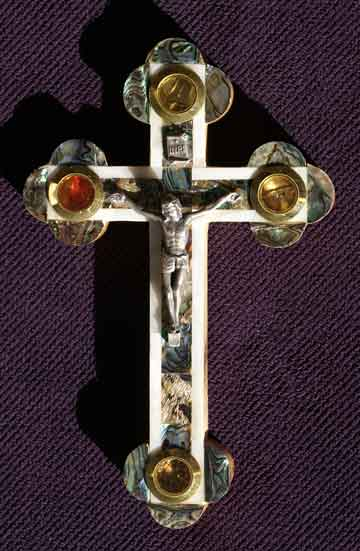 crucifix all mother of pearl abalone soil leaves rocks incense large greek