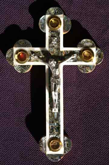 crucifix greek all mother of pearl abalone soil leaves incense rocks med-sm
