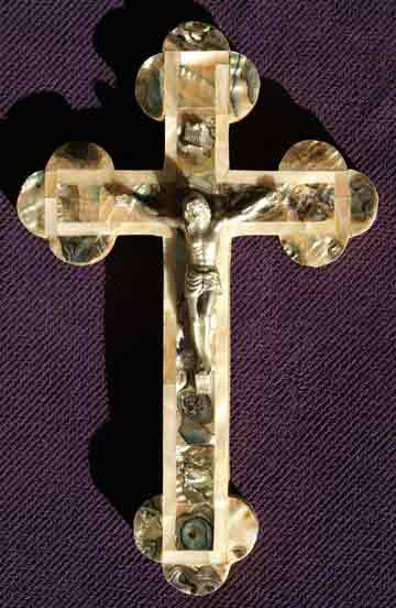 crucifix greek all mother of pearl abalone