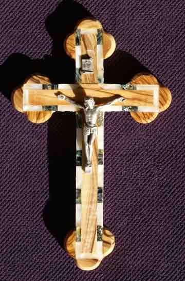 crucifix greek edge mother of pearl abalone med-sm