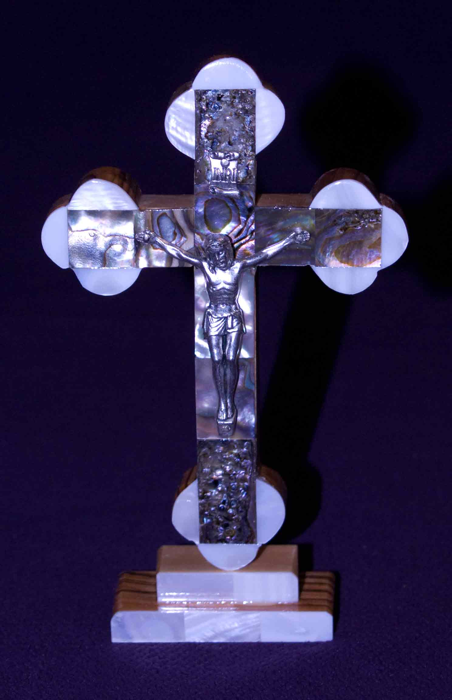 crucifix standing mother of pearl abalone medium