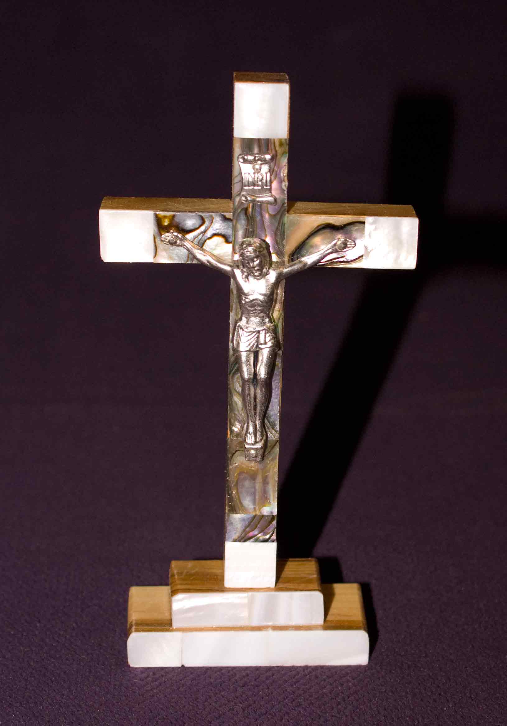 standing crucifix all mother of pearl abalone