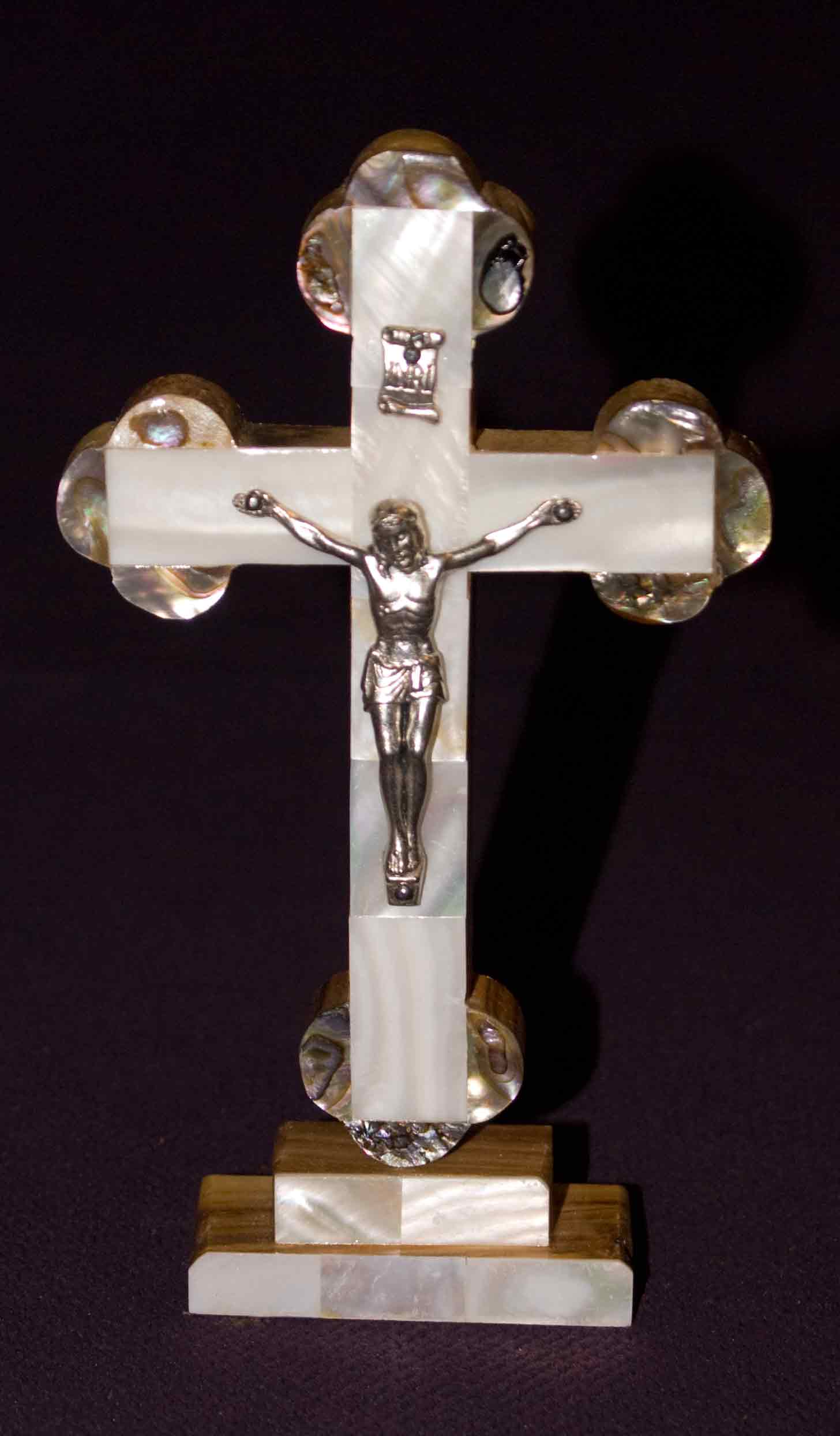 standing crucifix all abalone mother of pearl small